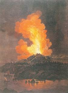 """Eruzione dell'Etna del 1766, incisione colorata di Alessandro D'Anna"" by Alessandro D'Anna (1746-1810) - Collezione privada, Roma, tratta dal volume De Aetna, Sellerio Editore, Palermo, 1981.. Licensed under Public Domain via Commons - https://commons.wikimedia.org/wiki/File:Eruzione_dell%27Etna_del_1766,_incisione_colorata_di_Alessandro_D%27Anna.jpg#/media/File:Eruzione_dell%27Etna_del_1766,_incisione_colorata_di_Alessandro_D%27Anna.jpg"